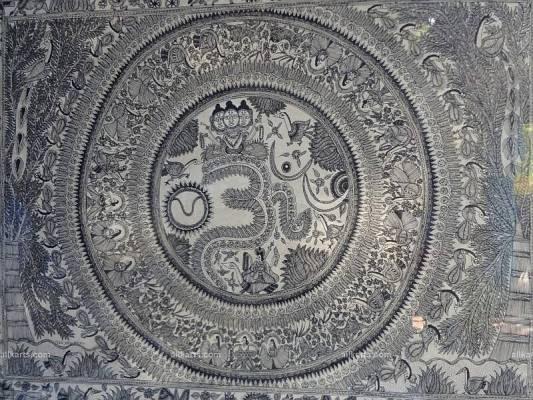Godhana Style Madhubani Painting of OM