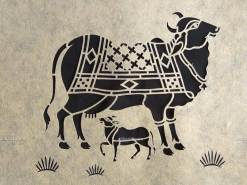 Sanjhi Art Cow and Calf Painting
