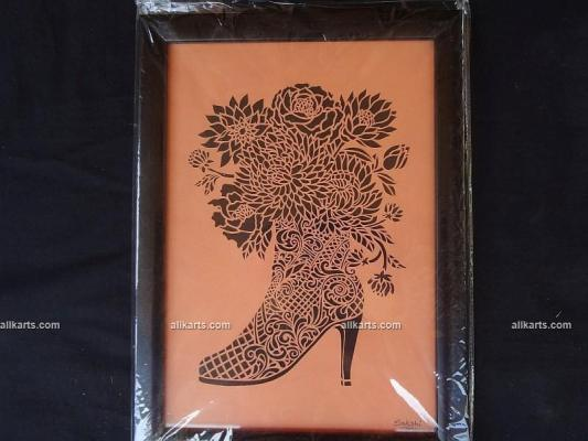 Shoe with Flowers Sanjhi Art Wall Hanging
