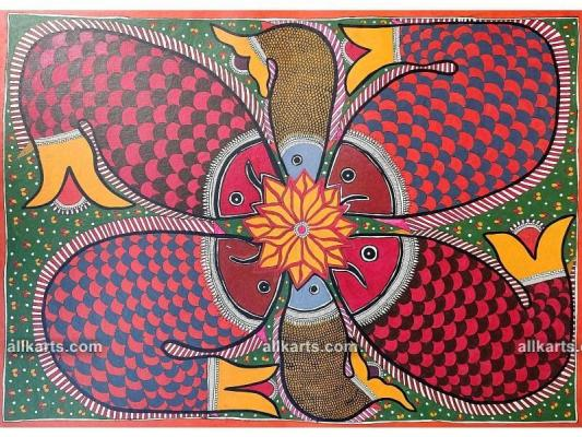 Bharni Style Madhubani Painting of Fish