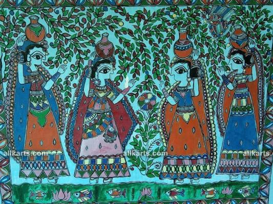 Traditional Madhubani Painting on the Wall