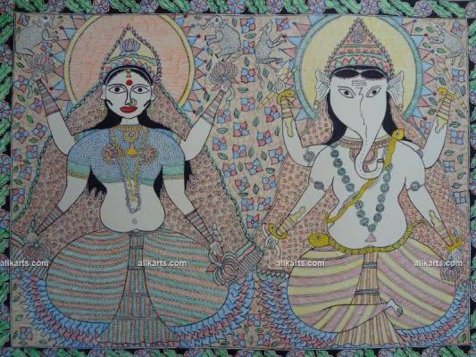 Madhubani Painting of Lakshmi and Ganesha Done in Tantric Style