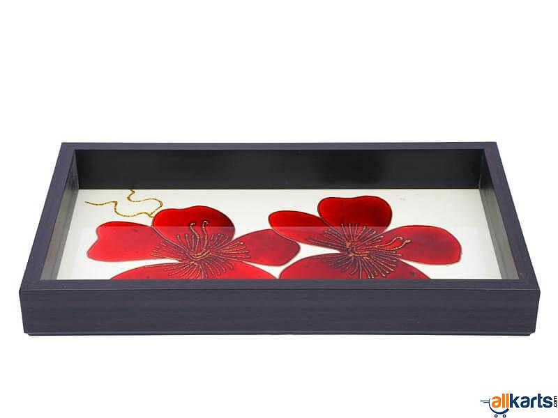 Floral Painting on Glass-Tray