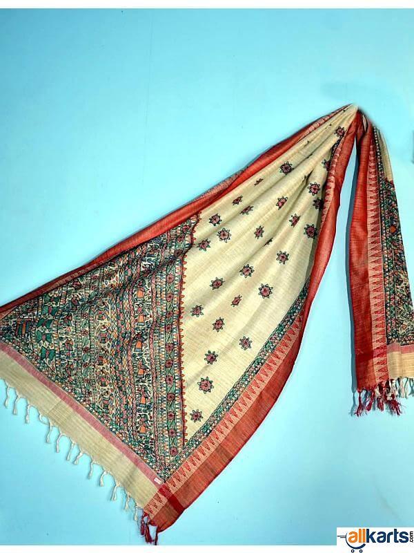 Madhubani Hand Painted Cotton Silk Dupatta