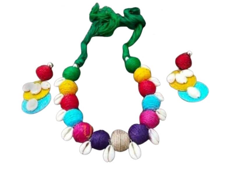 Cotton Thread and Kori Beads Jewellery Set