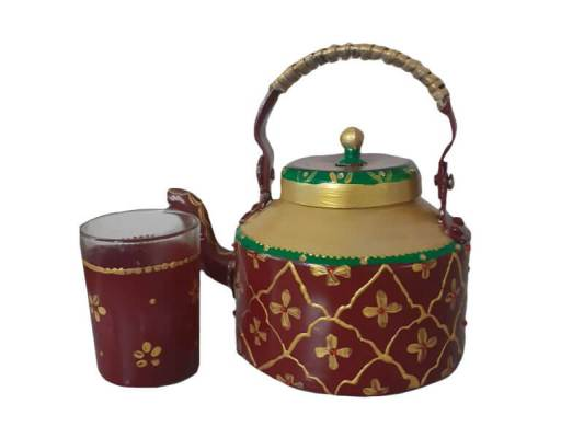 Hand Painted Kettle with Glass