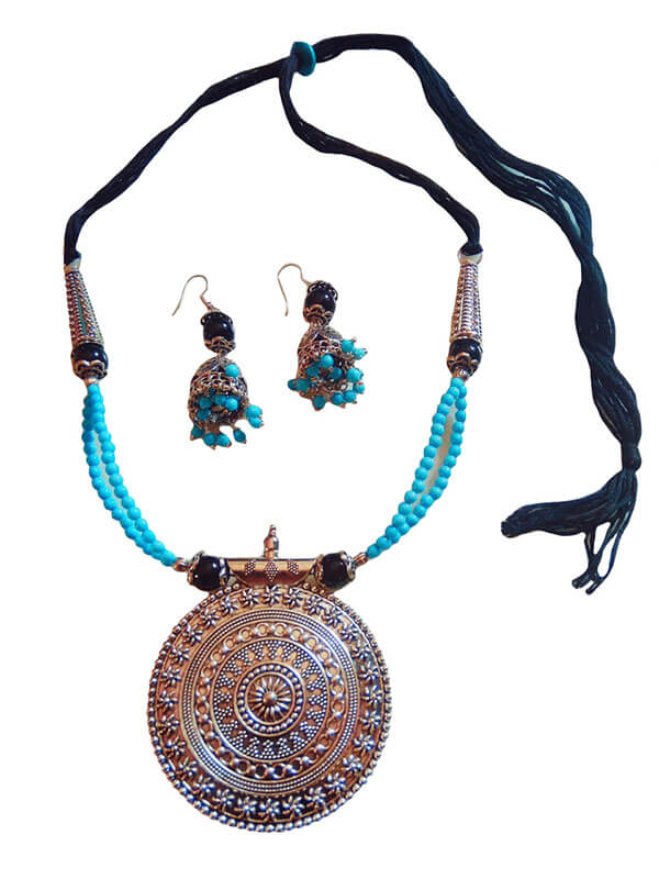 Seed Beads, Glass Beads and Oxidized Pendant with Jhumka
