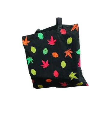 Hand Painted Tote Bag with Falling Leaves Autumn Design