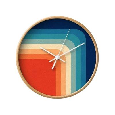 Hand Painted Wooden & Canvas Wall Clock