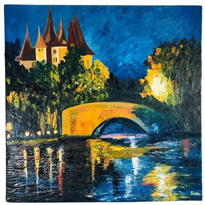 Serene Beauty Knife Painting on Canvas
