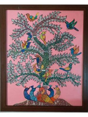 Gond Painting of Beautiful Peacocks and Colorful Birds Around Tree Done on Canvas with Acrylic Colors