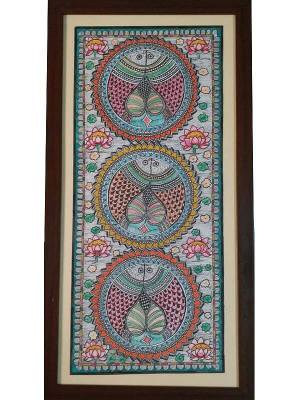 Kachni Style Madhubani Painting of Fish Done on Watercolor Paper with Different Pens
