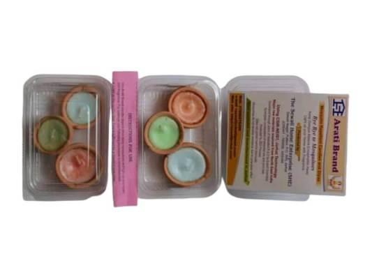 Pack of 3 Paraffin Wax Herbal Aroma Diya Candles