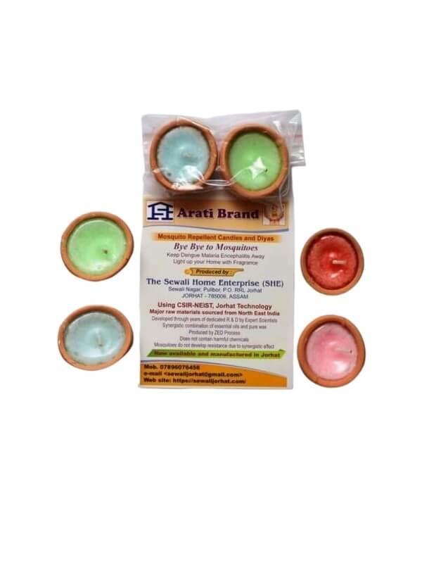 Pack of 2 Paraffin Wax Herbal Aroma Diya Candles