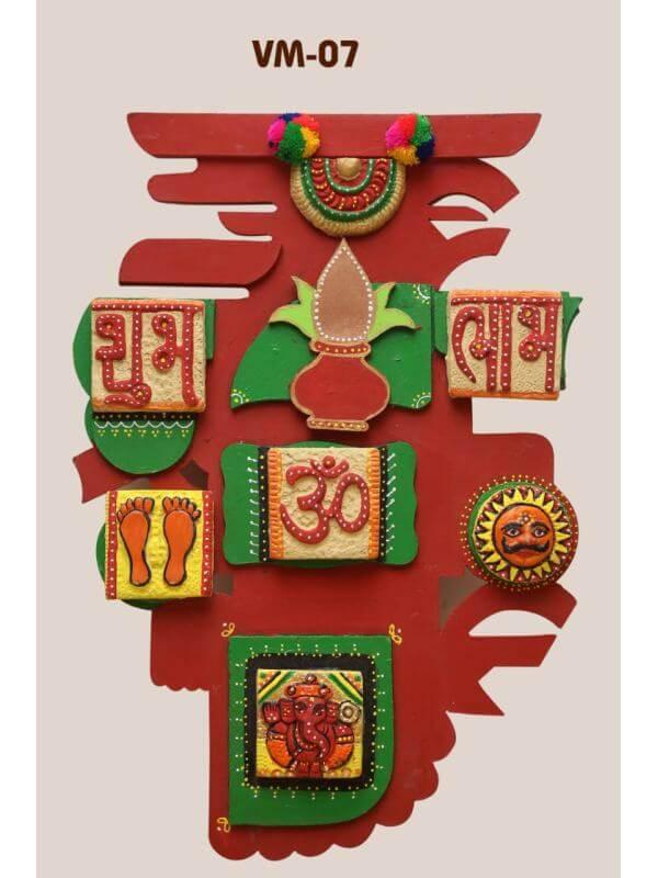 Terracotta Vastu Mural on Wooden Frame (Height: 2 ft, Width: 1 ft)