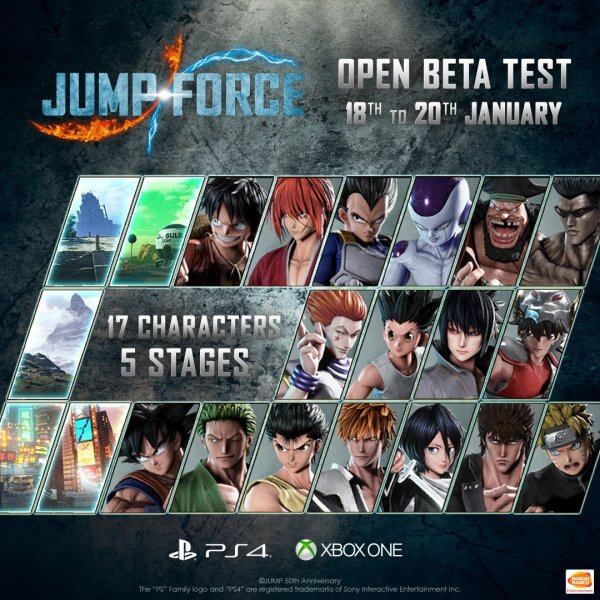 Jump Force Open Beta Characters and Stages