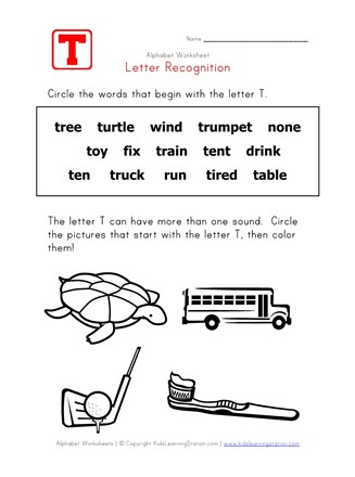 Letter T Words Recognition Worksheet All Kids Network