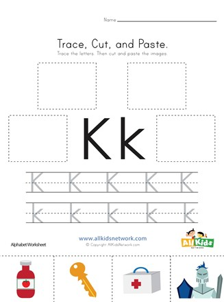 Trace Cut And Paste Letter K Worksheet