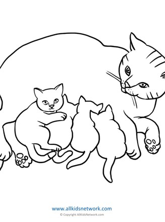 Cats Coloring Page All Kids Network