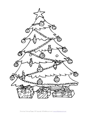 Christmas Tree Coloring Page All Kids Network