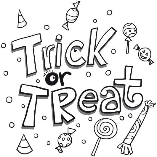 treat candy page coloring pages