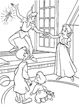 Peter Pan Coloring Page Peter Pan Window All Kids Network