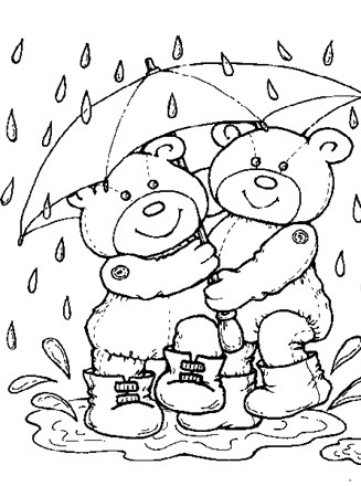 Teddy Bears Coloring Page Teddy Bears In Rain All Kids Network