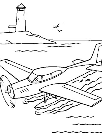 Vehicles Coloring Page Water Plane All Kids Network