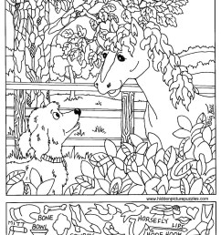 Hidden Pictures Page - Print your Hidden Pictures Horse Dog page   All Kids  Network [ 1259 x 1049 Pixel ]