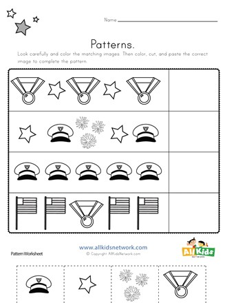 Memorial Day Cut And Paste Patterns Worksheet All Kids Network