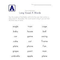 Long Vowel A Words Worksheet | All Kids Network