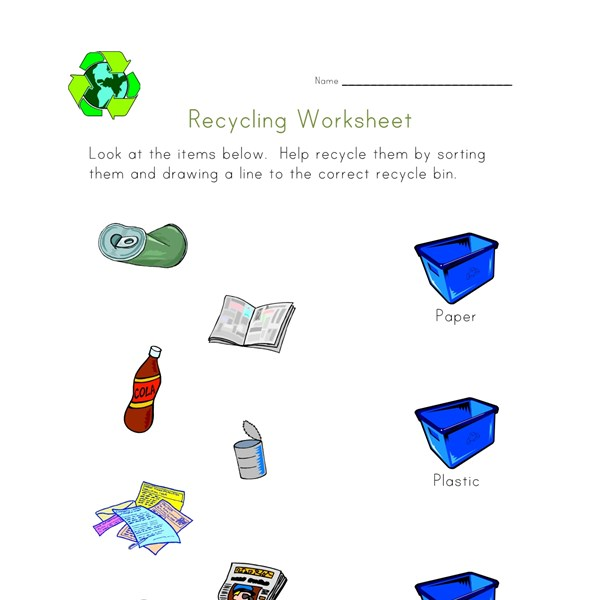 Sort And Recycle Worksheet All Kids Network