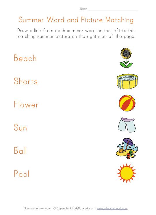 Summer Matching Worksheet