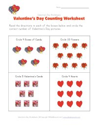 View and Print Your Valentine's Day Counting Worksheet