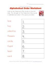 Valentine's Day Worksheet - Alphabetical Order Worksheet