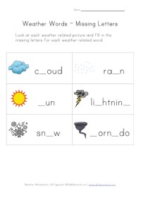 Weather Worksheet - Missing Letters