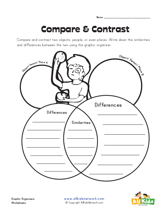 Writing a compare and contrast essay graphic organizer