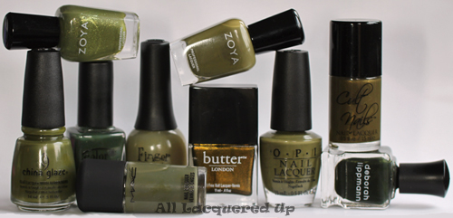 fall 2011 nail polish trend military green nail color