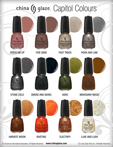 china glaze hunger games colours capitol nail polish chart China Glaze Colours From The Capitol Hunger Games Collection Bottle Images