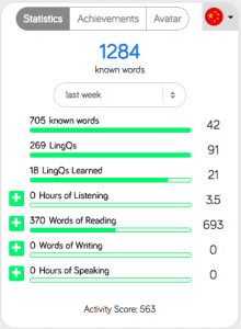 LingQ tracks how many words you know