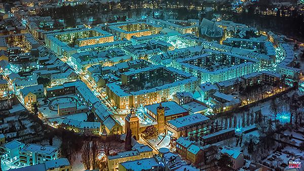 Luftbild Bernau bei Berlin Winterlandschaft Nacht Allmie