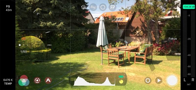 Filmic Pro App 1/50 Verschlusszeit 180 Grad Regel