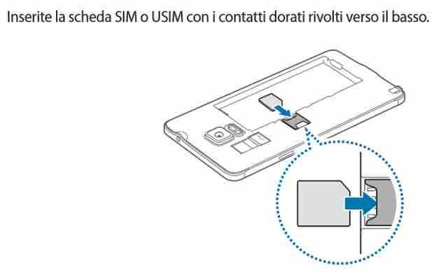 Galaxy Note 4 come e dove inserire la SIM Telefonica
