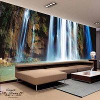 Natural Waterfall Rock Full Wall Mural Large Wall Print ...