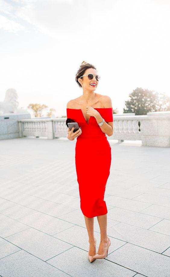 Red dress wedding