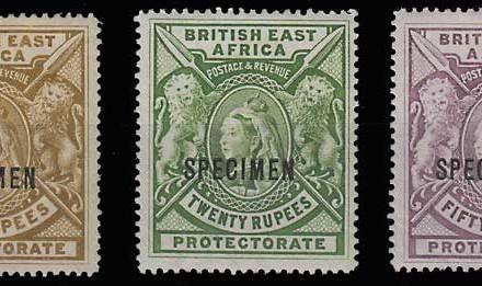 British East Africa #107S-109S Specimen trio
