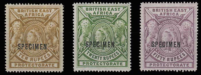 B.E.A. #107S-109S F/VF Mint HR Specimen trio