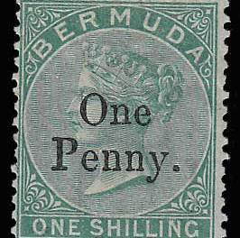 Bermuda #15 Fine Mint 1875 1d on 1/- APS cert