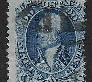 U.S.A. #72 VG/F Used 1861 90c Washington