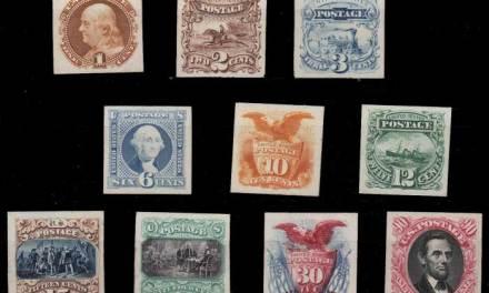 U.S.A. #112PA-122PA 1869 1c-90c Plate Proofs on Card